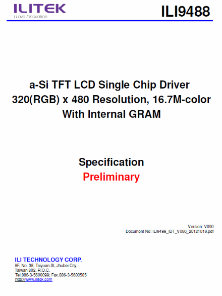 ILI9488 Datasheet