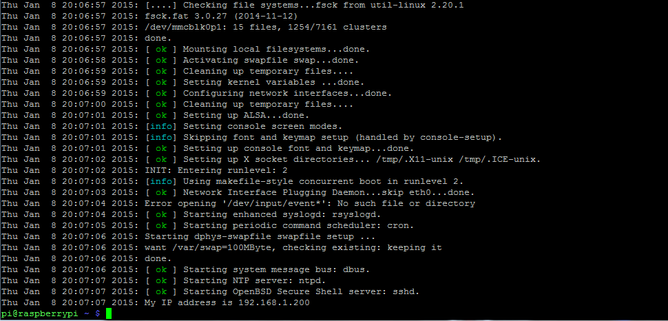 Raspberry Pi Boot log